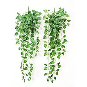 Donesa 2 Pack Artificial Ivy Leaf Plants Vines Leaves Hanging Garland Fake Foliage Flowers for Home Garden Office Wall Decoration 37