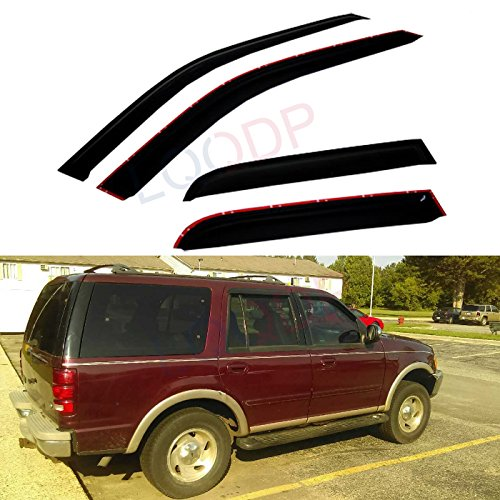 LQQDP 4pcs Front+Rear Smoke Sun/Rain Guard Outside Mount Tape-On Window Visors Fit 97-17 Ford Expedition 98-17 Lincoln Navigator