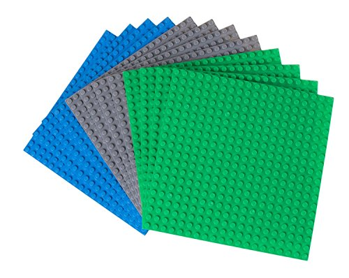 Strictly Briks Classic Baseplates 100% Compatible with All Major Building Brick Brands | Double Sided Stackable Bases | 12 Tight Fit Base Plates in Blue, Green & Gray 6.25