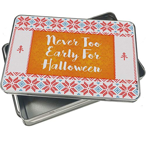 NEONBLOND Cookie Tin Box Never Too Early For Halloween Halloween Orange Wallpaper Vintage Christmas Pattern -