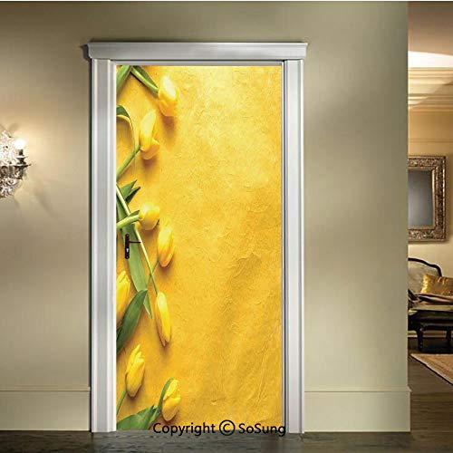 baihemiya Modern Art 3D Door Sticker,Danish-Dutch-Tulips-on-The-Colored-Wall-Gardening-Floral-Love-Lily-Herbs-Decor-Artprint,W30.3xL78.7inch,Removable Door Decal for Home DecorYellow-Green