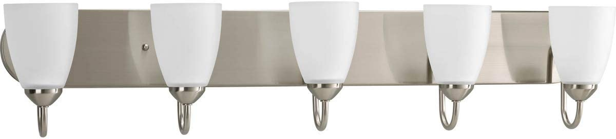 Progress Lighting P2713-09 Gather Collection Five-Light Bath Vanity, Brushed Nickel