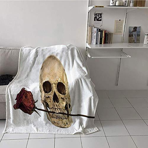 Khaki home Children's Blanket Lightweight Warm Blanket (30 by 50 Inch,Gothic Decor Collection,Skull with Dry Red Rose in Teeth Anatomy Death Eye Socket Jawbone Halloween Art,Ivory White