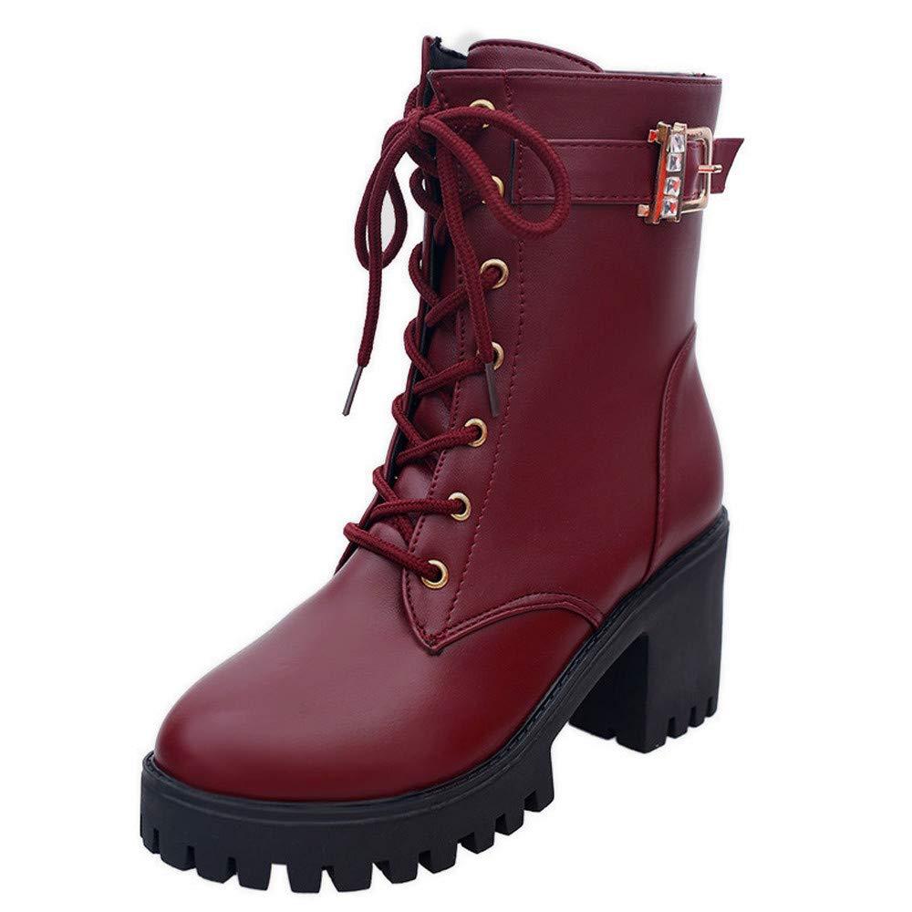 Sannysis Stiefeletten Damen Mode Damenschuhe Ankle Wedges Middle Boots Oxford Leder Martin Stiefel Schuhe Freizeitschuhe