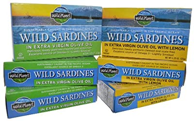 Wild Planet Wild Sardines Olive Oil Variety Pack of 6 (4.375 oz Cans)