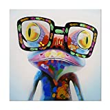 7CANVAS 100% Hand-Painted Oil Paintings Colorful Funny Frog Modern Animal Artwork Canvas Stretched Wood Framed Ready to Hang Wall Decor 24x24 inch