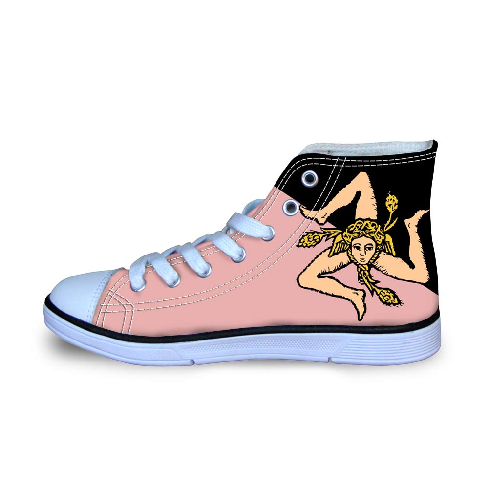 Canvas High Top Sneaker Casual Skate Shoe Boys Girls Pink Black Sicily Flag