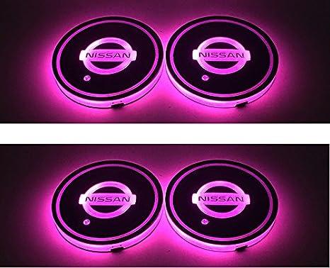 Amazon.es: lqyauto 2pcs Nueva Moda Estilo del coche LED coche lámpara de taza posavasos alfombrilla para decoración de interiores luz para Nissan rosa Color ...