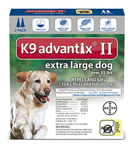 Bayer K9 Advantix II Flea, Tick and Mosquito prevention for XLarge Dogs, over 55 lbs, 2 doses