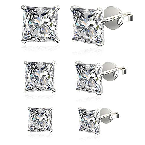 Set of 3 Pairs .925 Sterling Silver Cubic Zirconia Princess-Cut Stud Earrings: 4mm + 5mm + 6mm