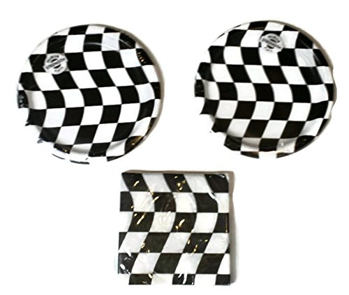 Open Wheel Indy Car Racing Checkard Flag Party Plates (16) Napkins (16) (Race Car Plates compare prices)