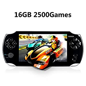 "Handheld Game Console, Portable Video Game Console 16GB 5 ""Screen 2500 Classic Games, Support / GBA / GBC / NES / BIN / SMC, Best Birthday and New Year Gifts for Kids – Black"