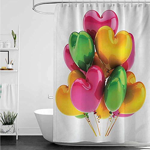 Womens Shower Curtain,Orange and Pink Party Balloons Heart Shaped Birthday Holiday Celebration Romantic Wedding,goof Proof Shower,W60x72L,Multicolor