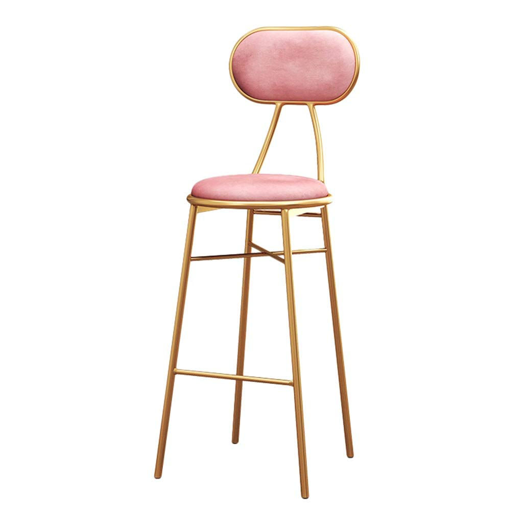 Pink 100CM Backrest High Stool, Restaurant Counter Chair gold Iron Art Dressing Stool Different Heights Lounge Chair 70-100CM (color   Brown, Size   70cm)