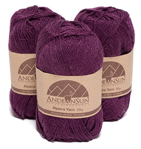 Alpaca Sock Yarn (THIN Alpaca Yarn Blend FINGERING Weight Skeins - SET OF 3 SKEINS - 654 Yards Total - 150 Grams - 5.28 Ounces Total (Royal Purple))