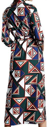 erdbeerloft - Damen Gemustertes Kleid mit Kragen und Knöpfen , Mehrfarbig, S-2XL