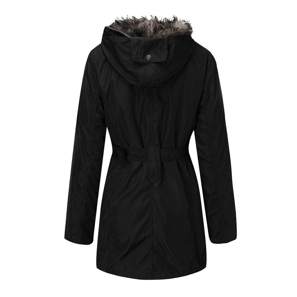 KASAAS Womens Trend Ladies Fur Lining Fashion Winter Warm Thick Long Jackets Hooded Parka Coats
