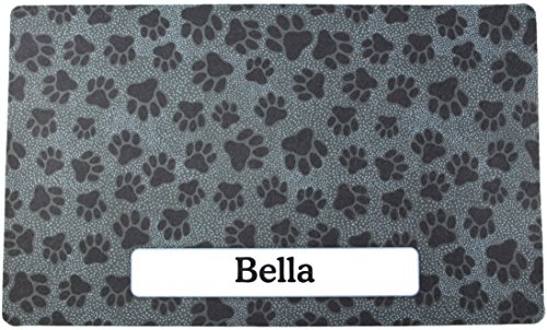 Drymate Pet Placemat Personalized, Dog Food Mat, Cat Food Mat, Pet Food Mat - Absorbent/Waterproof - Machine Washable, Durable, (USA Made) (12 Inches x 20 Inches) (Paw Dots ()
