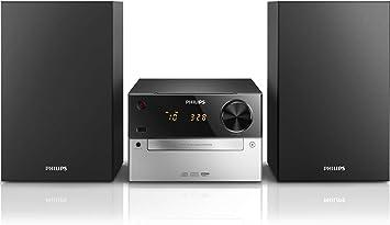 Philips MCM2300 - Microcadena con reproducción de CD, USB y entrada de audio, fácil de usar, color negro y gris
