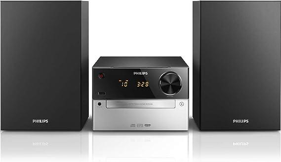 Philips MCM2300/12 - Minicadena de Música con CD y USB (Radio FM, MP3-CD, Entrada de Audio, Puerto USB para Carga, Altavoces Bass Reflex, Control ...