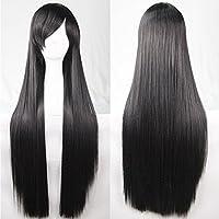 New 80cm Straight Sleek Long Full Hair Wigs w Side Bangs Cosplay Costume Womens, Black