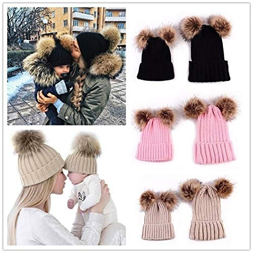 isopeen Parent-Child Beanie Casual Adults Children Winter Warm Cute Knit Pom Pom Beanie Hats Hats & Caps