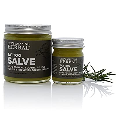 Tattoo Salve, Natural Tattoo Aftercare Treatment Salve, Lanolin Free (Ointment, Lotion, Cream, Moisturizer), Made In The USA, Ora's Amazing Herbal