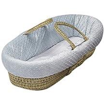 BabyDoll Heavenly Soft Doll Moses Basket Set, Blue