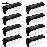 Solar Powered Stair Step Light, Wireless Waterproof Outdoor Lights Security Directive Decorative Lighting for Backyards Decks Driveway Fence Garden Garage Porch Pathway Patio Wall (8 Pack)