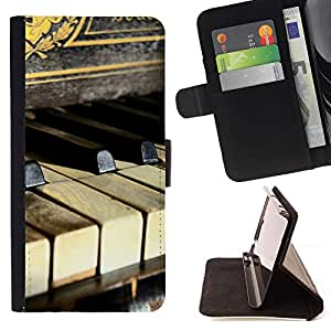 For Samsung Galaxy Core Prime Rustic Vintage Piano Music Pianist Keys Beautiful Print Wallet Leather Case Cover With Credit Card Slots And Stand Function