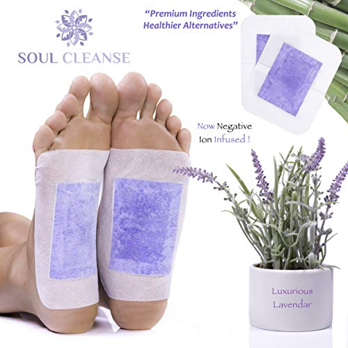 Soul Cleanse | 20 Premium Lavender Foot Pads | 100% Organic Ingredients | Ease Stress and Pain | Sleep Deeper with The Power of Lavender and Fight Foot Odor | Relax The Soul and Cleanse The Body | from Soul Cleanse