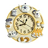 HSRG 8Inch (21Cm) Wall Clock Resin Living Room European Pastoral Art Living Room Bedroom Kitchen Silent Quartz Clock