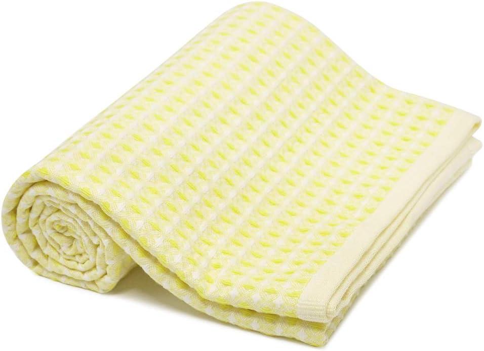 Fittia Throw - Manta para bebé, 75 x 100 cm, 100% algodón orgánico, suave manta de punto de gofre para niños y niñas, hipoalergénica, manta para gatear, manta para niños pequeños, color amarillo