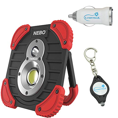 NEBO Tango 1000 Lumen USB Rechargeable Work Light with Power Bank Bundle with Lumintrail USB Car Adaptor Plus Bonus Keychain Light