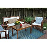 Stripe Indoor Outdoor Reversible Area Rug Blue Multi (6' x 9' Feet)