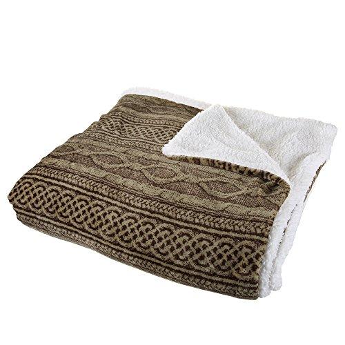 Lavish Home Flannel/Sherpa Blanket - King - Chocolate/Taupe