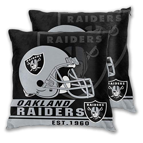 Marrytiny Custom Colorful Set of 2 Pillowcase Oakland Raiders American Football Team Bedding Pillow Covers Pillow Cases for Sofa Bedroom Home Decorative - 18x18 Inches