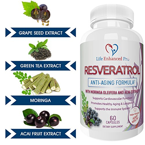 Life Enhanced Pro Resveratrol 1150mg Trans Resveratrol Pure Blend Non-GMO Natural Polyphenols Antioxidant Supplement with Grape Seed Green Tea Acai Vitamin C 60 Veggie Reservatrol Capsules Discount