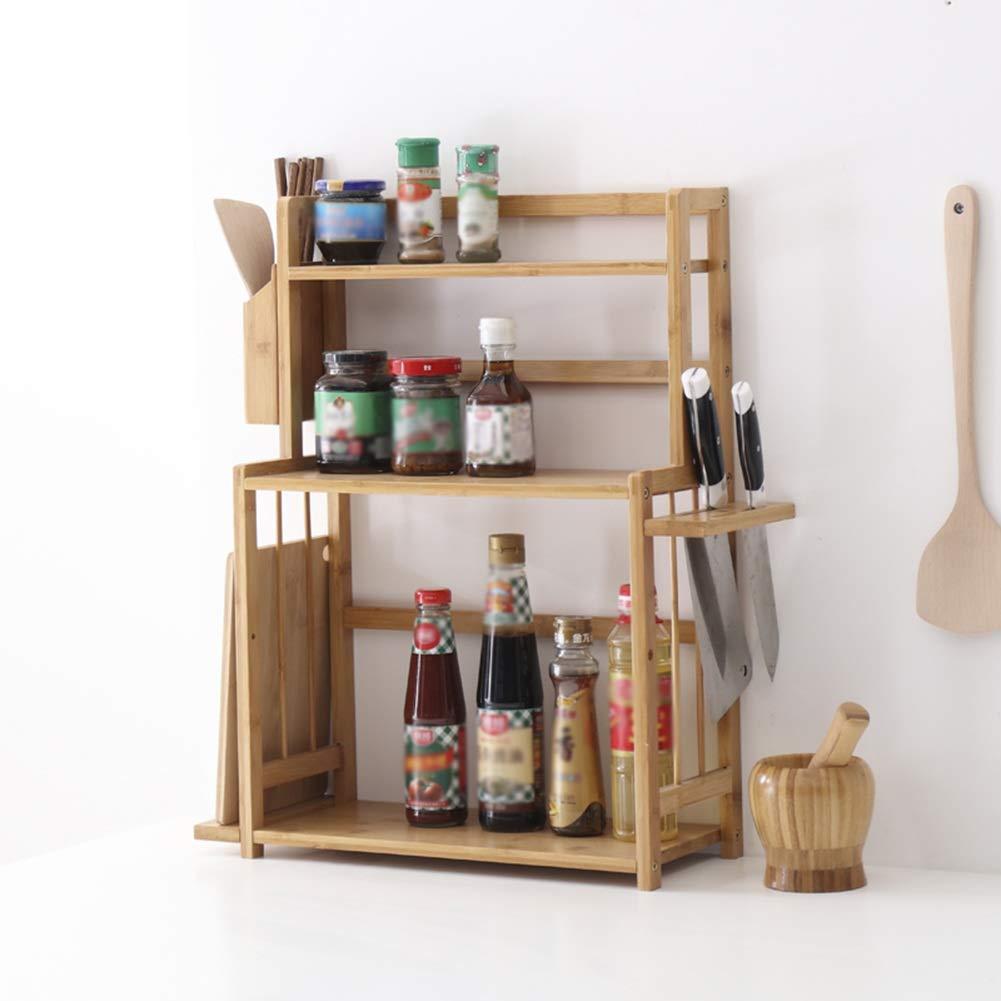Kitchen Storage Shelf Racks Storage Basket Shelf Baskets Bamboo Household Spice Rack Kitchen Multifunction Tool Holder Multiple Choices ZHAOYONGLI (Size : 521860cm)