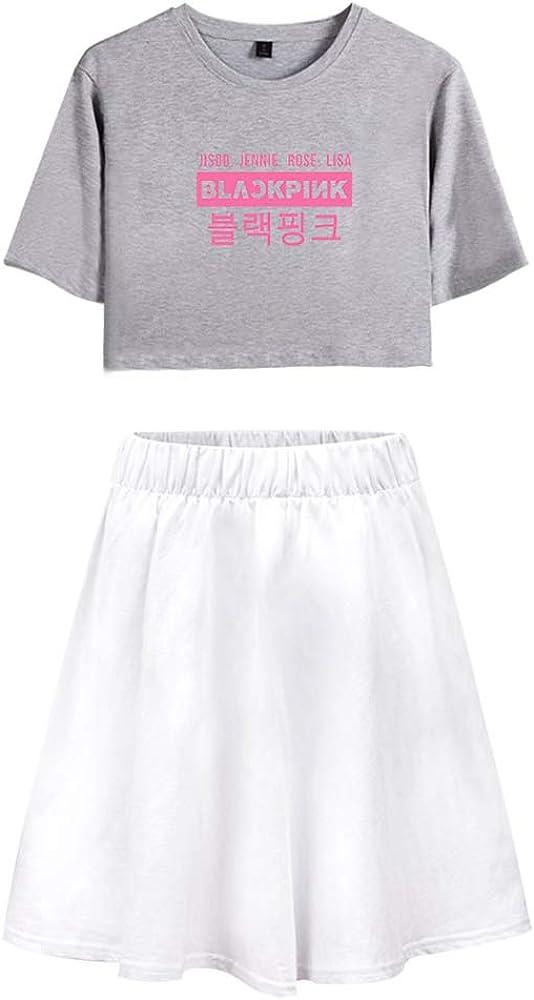 Blackpink KPOP Camiseta Lumbar del Verano De 2 Unidades Trajes Falda+Blusas Rose Lisa Jisoo Jennie T-Shirt De Los Cultivos Moda Falda Traje: Amazon.es: Ropa y accesorios