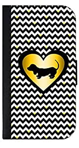 Black and White Chevrons with Hearts-Black/Gold Print Heart with Puppy Silhouette- Wallet Case for the APPLE IPHONE 4, 4s ONLY!!!!!-PU Leather and Suede Wallet Iphone Case with Flip Cover that Closes with a Magnetic Clasp and 3 Inner Pockets for Storage