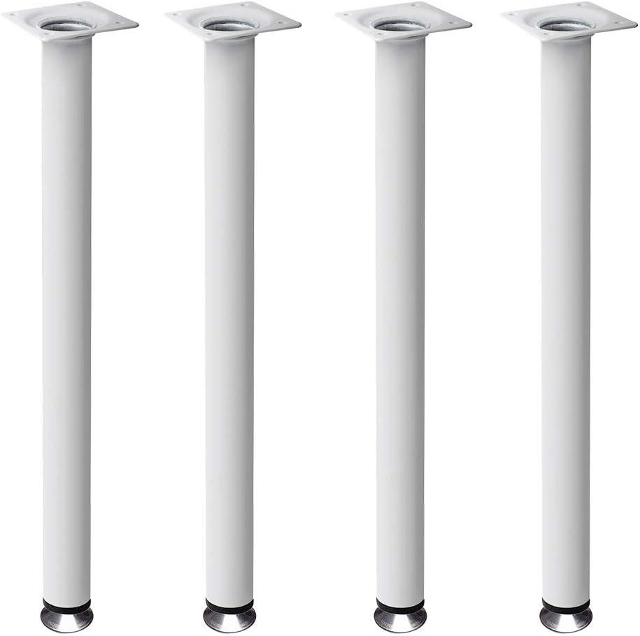 4 un. Pata pie redonda para Mesa en acero diametro 30mm altura 700mm pintura blanca con regulador Nivelador de 15-25mm