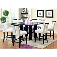 Furniture of America Durant 7-Piece LED-Illuminated Pub Dining Set, Black