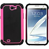 Fenzer Hot Pink Hybrid Rubber Matte Hard Case Cover for Samsung Galaxy Note 2 II SCH-R950 SCH-i605 SGH-T889 SGH-i317 SPH-L900 Cell Phone