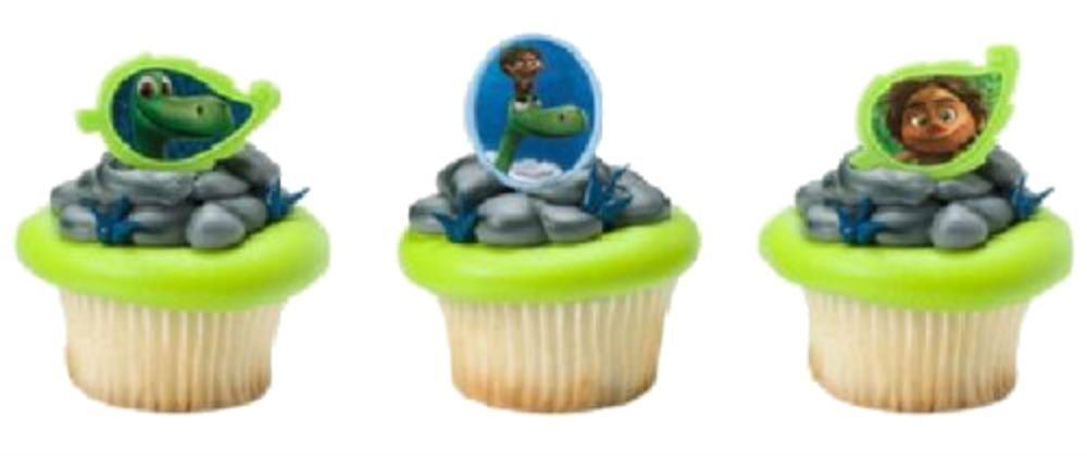 The GOOD DINOSAUR Arlo Spot 24 Birthday PARTY Cupcake Cake RINGS Toppers Favor