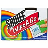 4 X Shout Wipe & Go, Portable Stain Treater Towelettes 12 ea (5 X 6 inches each)