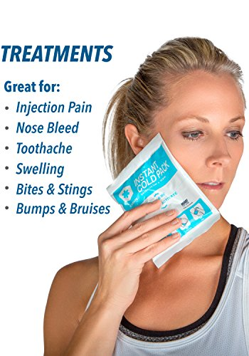 """IceWraps 5"""" x 6"""" Instant Cold Breakable Ice Packs - Emergency Disposable First Aid Ice Packs - Bulk Case of 50 by IceWraps (Image #1)"""