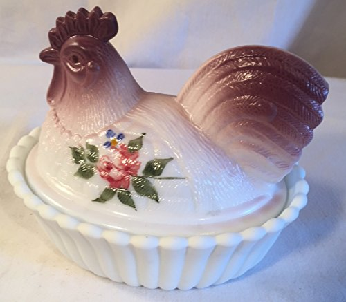 Covered Chicken Rooster Dish on Ribbed Base - Handpainted Rose - American Made (Airbrushed Mauve) (Rooster Candy Glass)