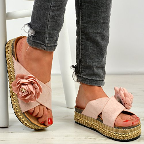 Platforms Studded Flatforms Cucu Shoes Ladies Espadrille New Pink Womens Sandals Flower Fashion qwwOS8a