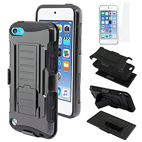 Nextkin Apple iPod Touch 5 (5th Generation) iPod Touch 6 (6th Generation) Case, Dual Layer Mecha Holster Hybrid Hard Protector Cover Soft TPU Skin - Black With 1X Clear (Ipod 5th Generation With Holster)